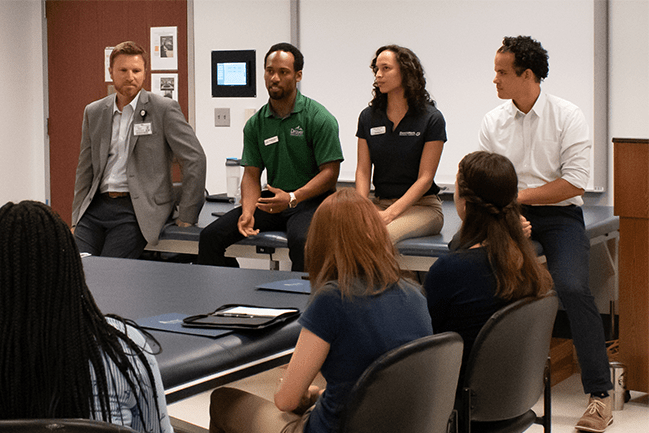 Doctor of Physical Therapy alumni during a panel discussion at COAST PEP day August 2019